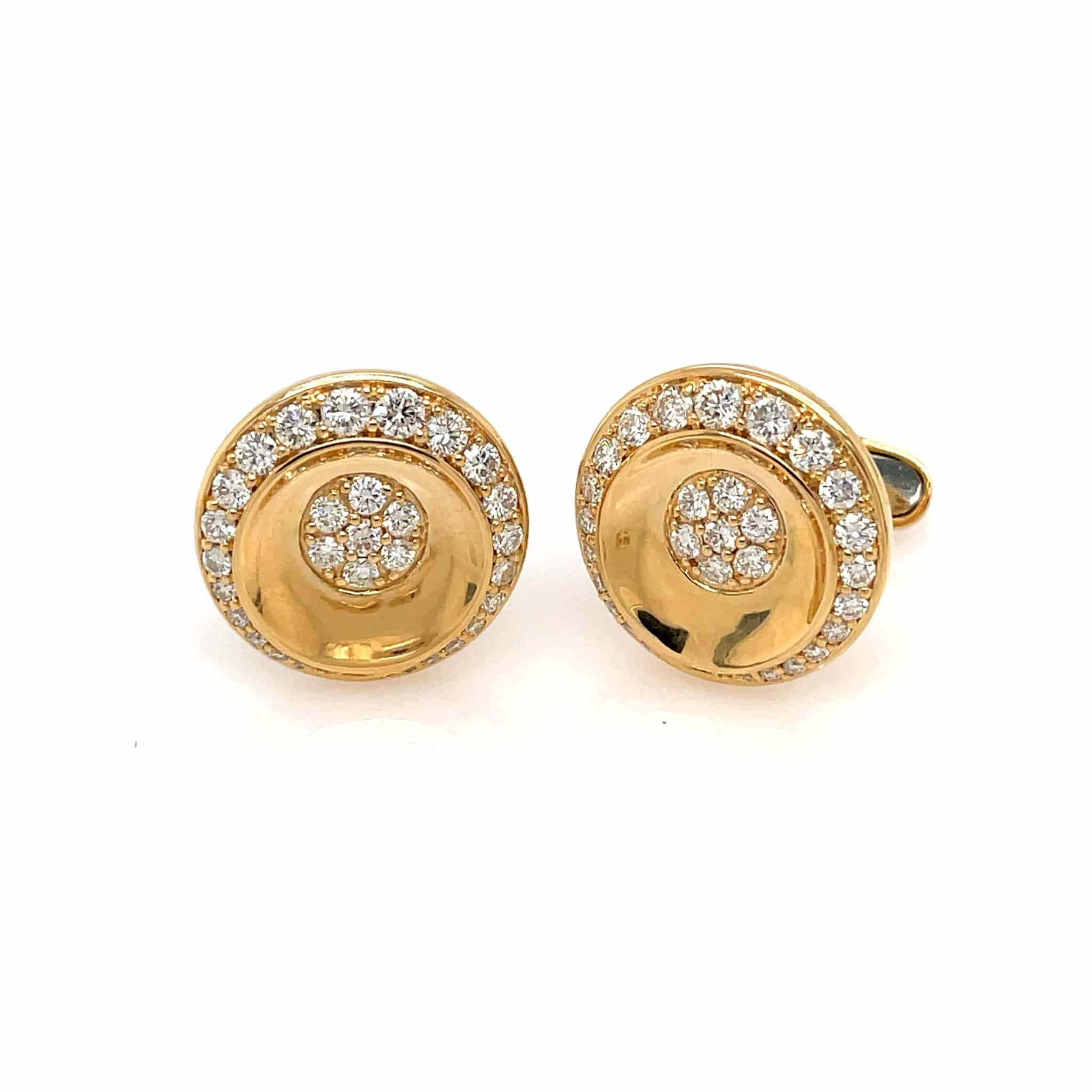Polished Yellow Gold Cufflinks with 2.03 carats of diamonds