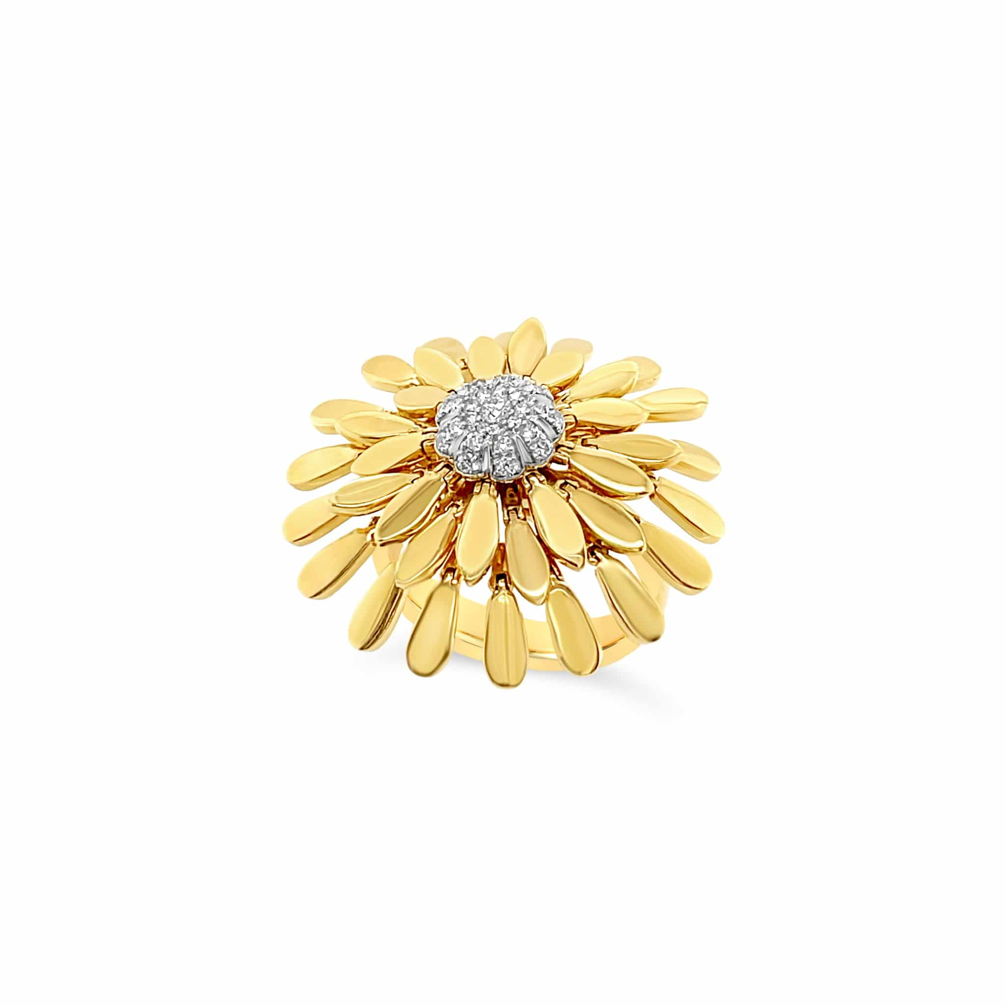 Gold and Diamond Movable Floral Petal Ring