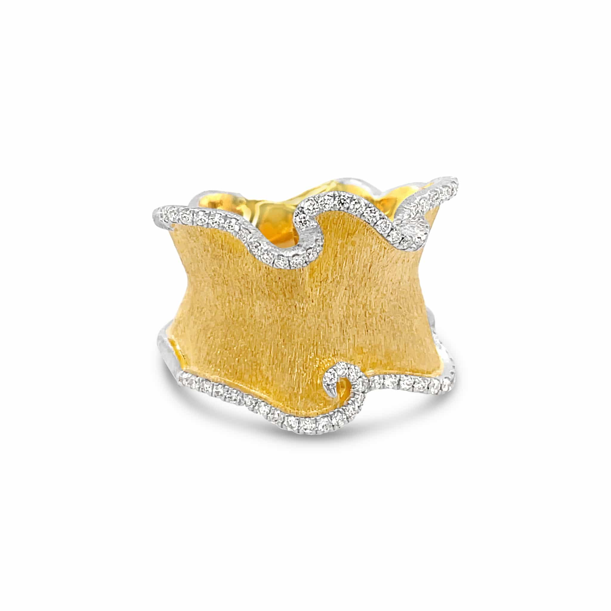 18K Matte Yellow Gold Wave Ring with Diamond Accents