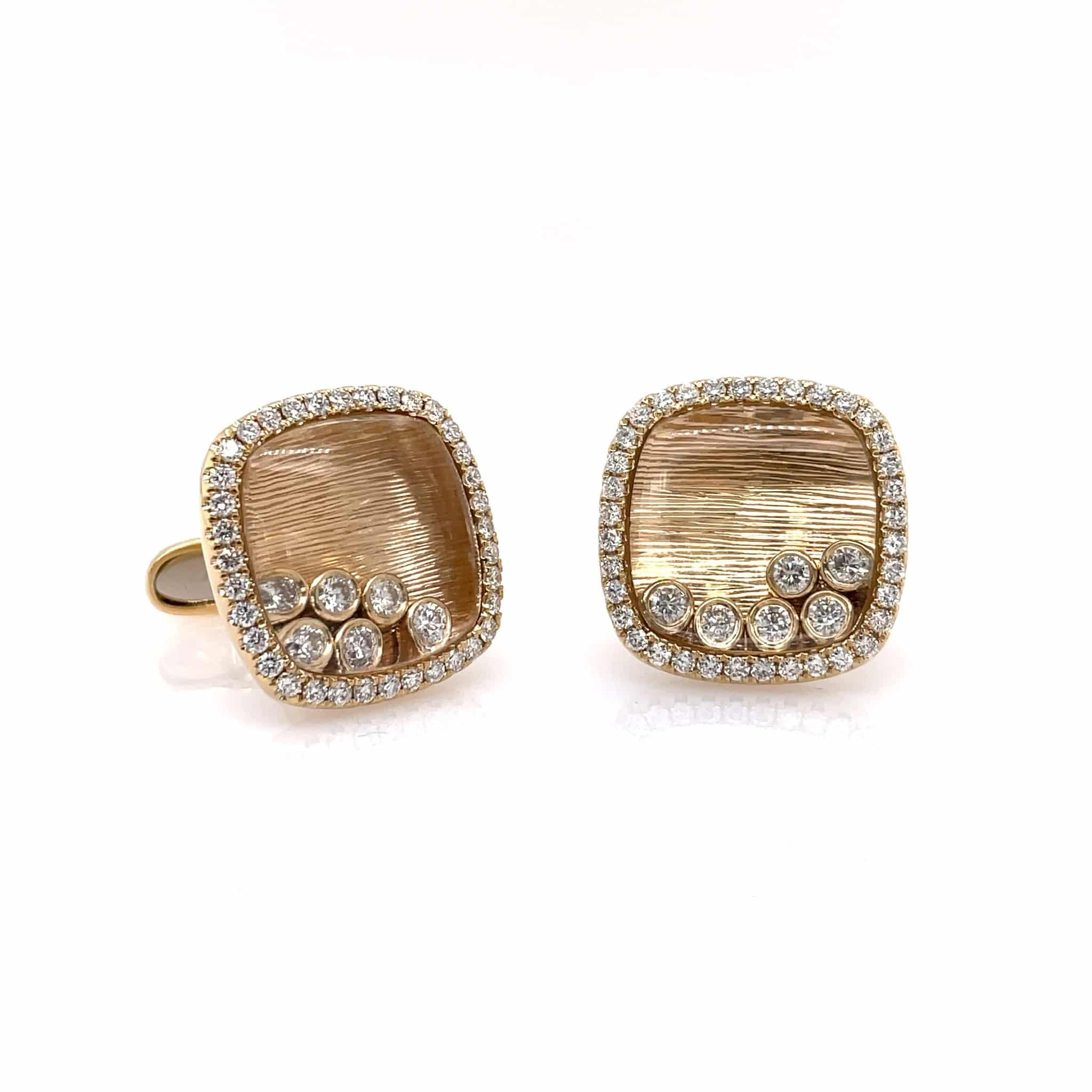 Yellow Gold Floating Diamond Cufflinks