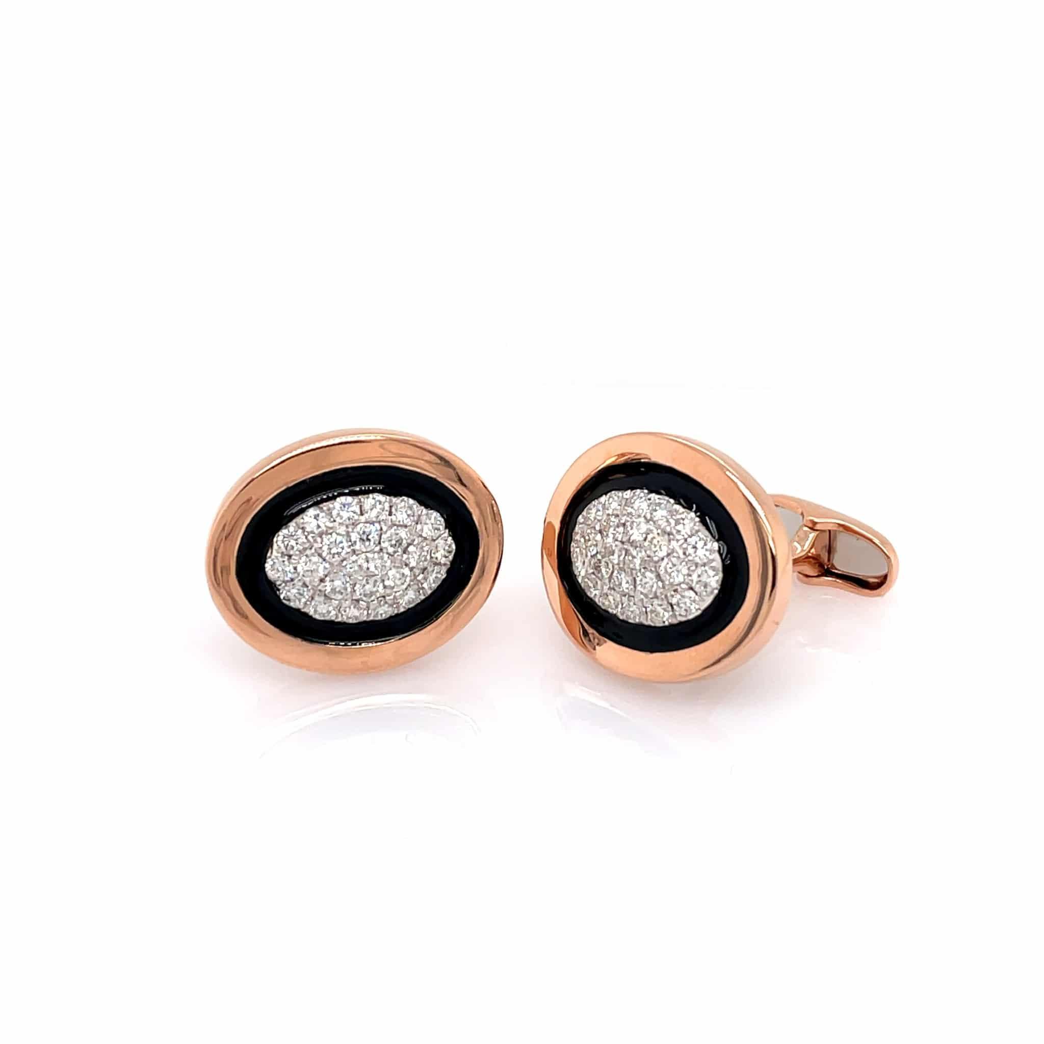 Rose Gold, Black Enamel and Diamond Cufflinks