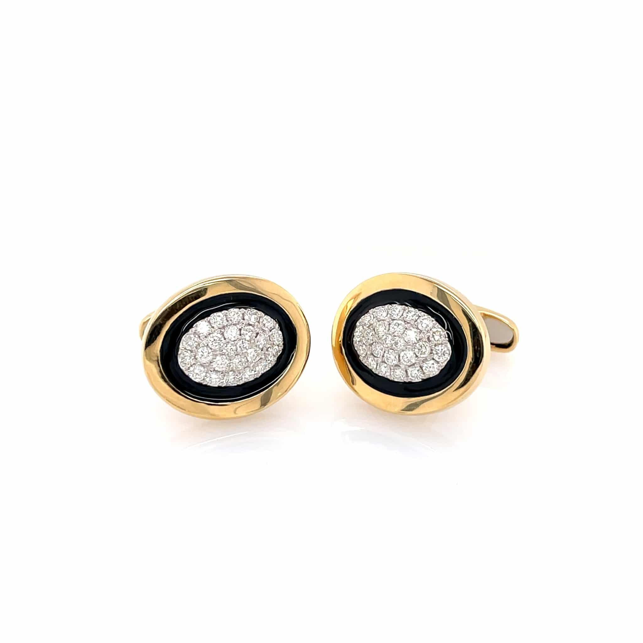 Yellow Gold, Black Enamel and Diamond Cufflinks