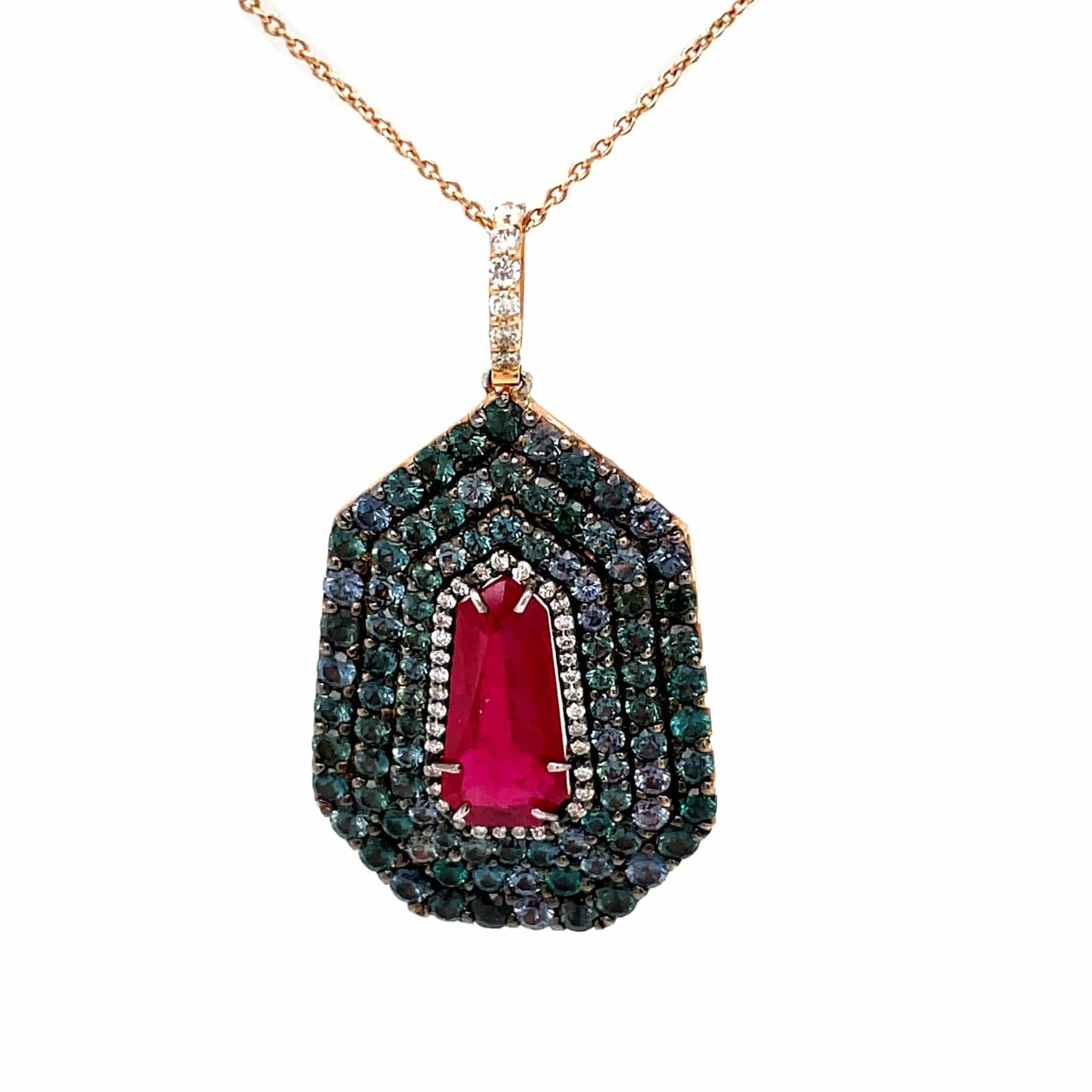 Burma Red Ruby and Gold Pendant
