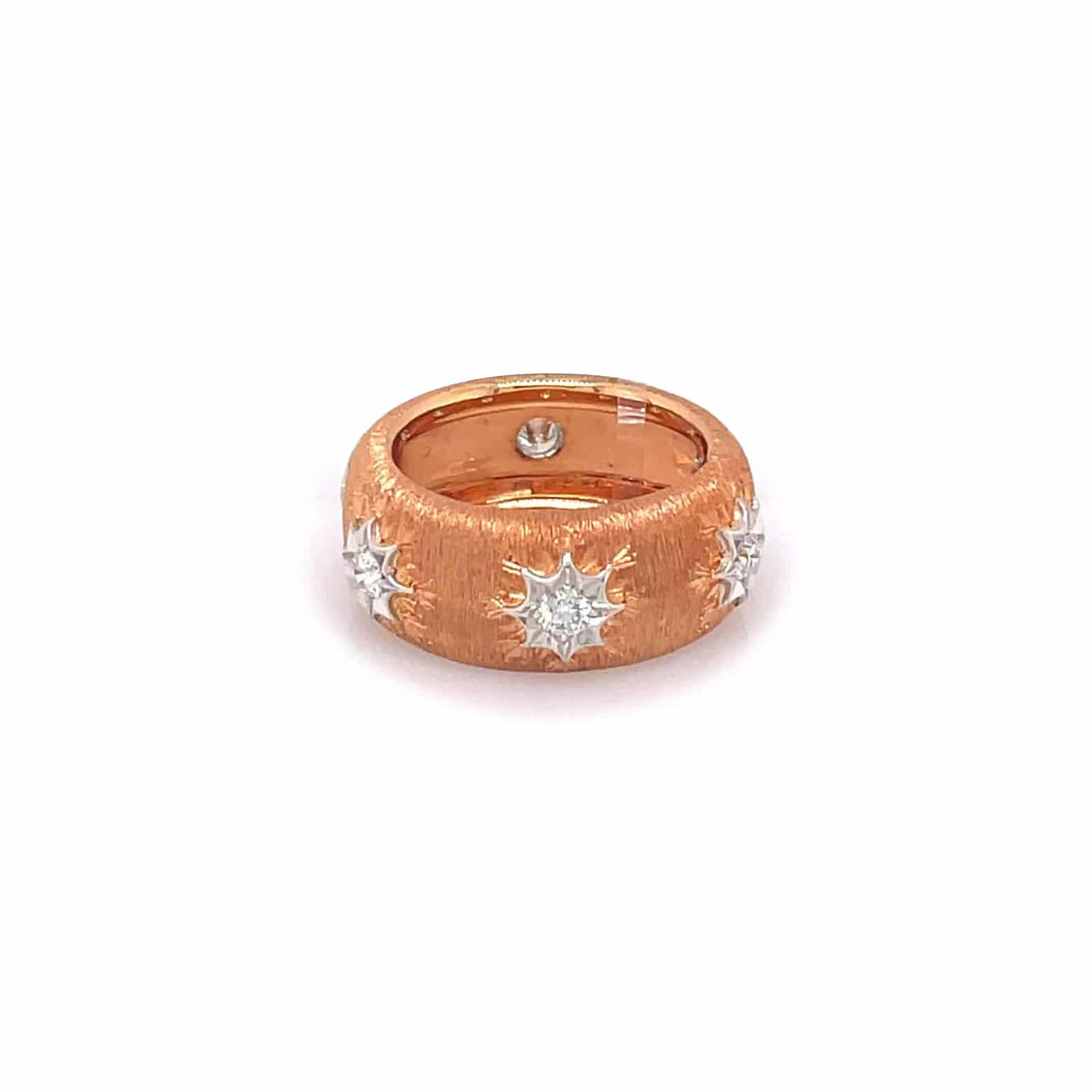 18K Rose Gold Ring with Diamond Accents