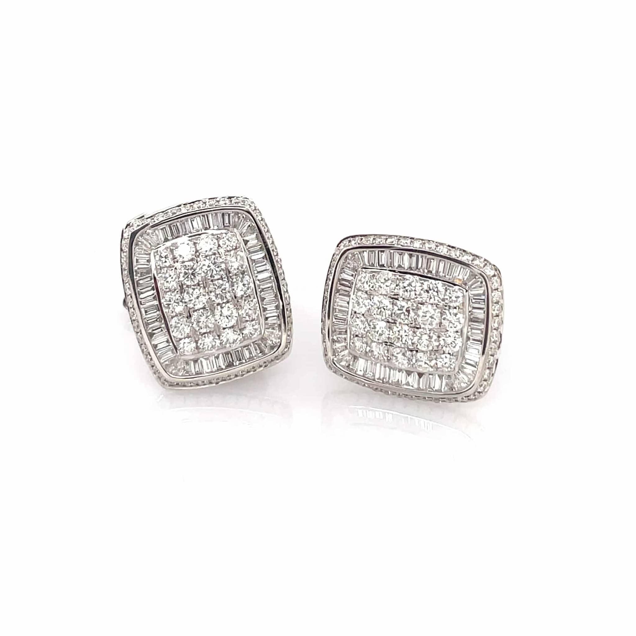 Baguette and Round Brilliant Diamond Cufflinks