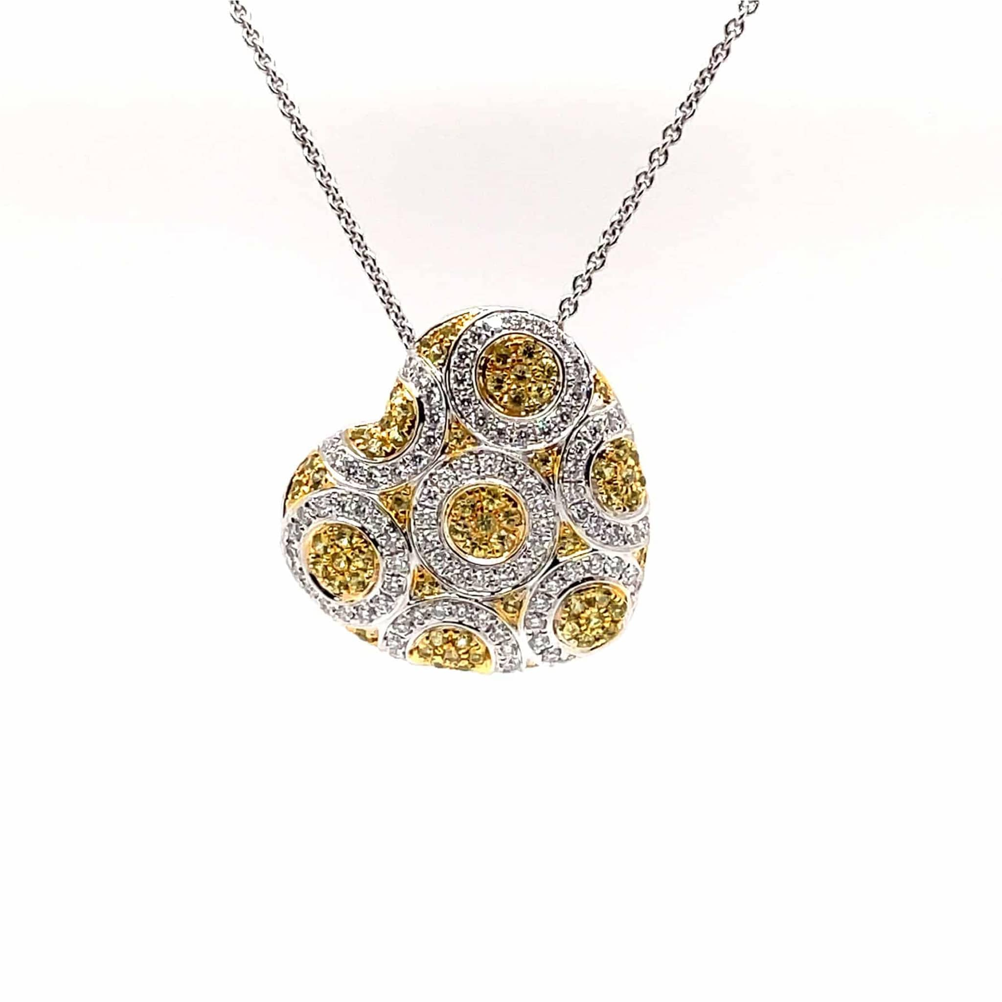 Heart Shaped Pendant in 18K White Gold with Yellow Sapphires and Diamonds